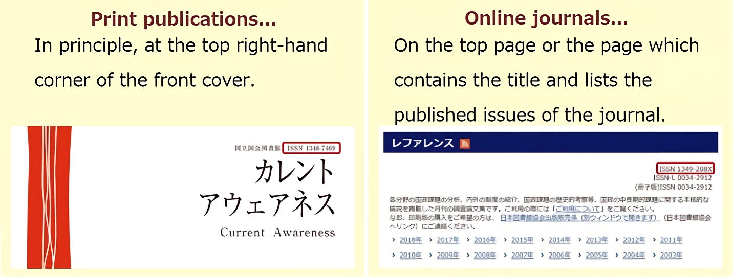 Figures to show the examples of display of ISSN. In the case of print publications, in principle, at the top right-hand corner of the front cover. In the case of online journals, on the top page or the page which contains the title and lists the published issues of the journal.